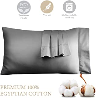 STWIENER 1,000 Thread Count Pillow Cases 100% Egyptian Cotton Silk Feel Satin Weave Standard Pillowcases Set of 2, Luxury Hotel Quality (Grey Standard 20