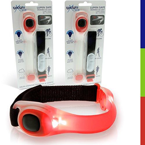 igadgitz Xtra U4379 Lumin Safe Brassard Silicone LED Clignotant Haute Visibilité Réflectif pour Cyclisme, Jogging, Course, Randonnée Pédestre et Bien Plus (Pack de 2 - Rouge)