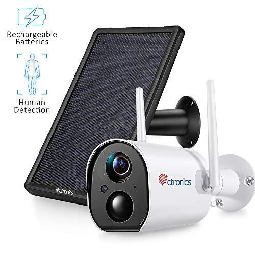 Ctronics Überwachungskamera Akku Aussen mit Solarpanel, 1080P WLAN IP Kamera Outdoor 10400mAh mit Personenerkennung, Nachtsicht, IP66 wasserdicht, 2-Wege-Audio, SD-Kartensteckplatz