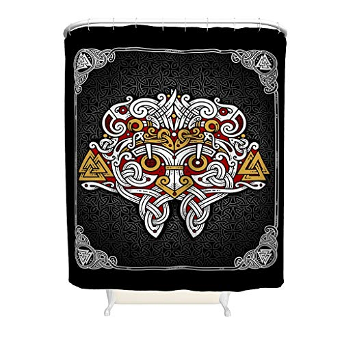 Knowikonwn Viking Rune Valknut Blue Shower Curtain Print Personalized Waterproof Bathtub Curtain Set with Hooks - for Dorm Room Decorate white2 200x200cm
