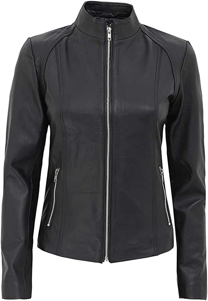 Womens Leather Jacket - Motorcycle Style Real Lambskin Leather Jackets