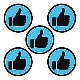 Imanes con un Símbolo del Pulgar o Like - Juego de 5 imanes - Diámetro 5 cm - para Pizarras Blancas y Refrigeradores