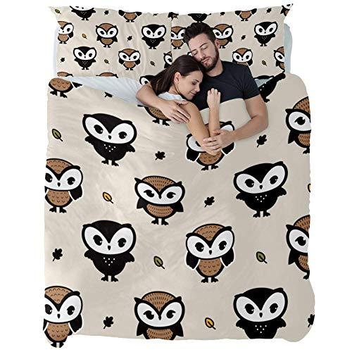 ASDFSD Juego de ropa de cama de 3 piezas con estampado de búhos marrones de 3 piezas de algodón, colcha de patchwork, juego de cama para accesorios de dormitorio, individual, Varios Colores, Doublé