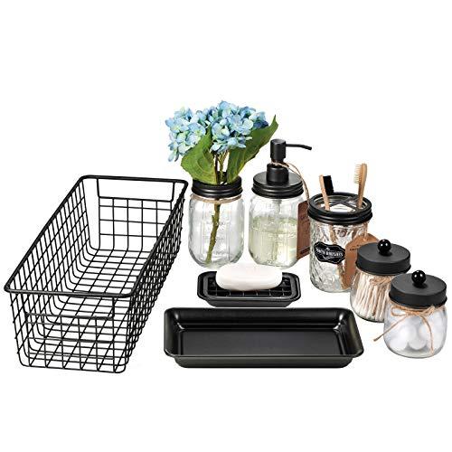 Mason Jar Bathroom Accessories Set 8 Pcs - Lotion Soap Dispenser,Toothbrush Holder,2 Apothecary Jars, Flower Vase,Soap Dish,Vanity Tray,Toilet Paper Holder Storage Bin,Vintage Farmhouse Decor (Black)