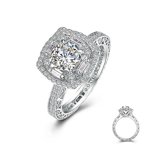 Lafonn Heritage Sterling Silver Platinum Plated Simulated Diamond Ring (3.2 CTTW)