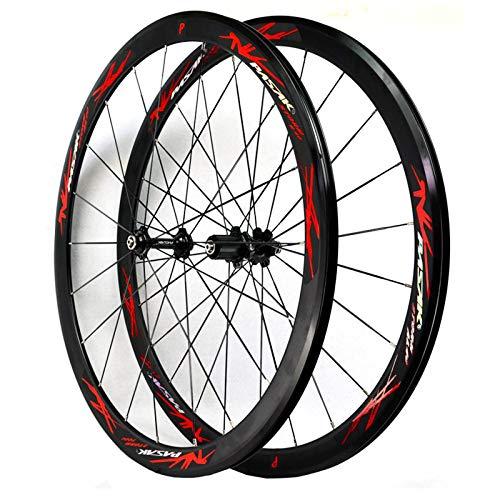 ZFF 700C Fahrrad Vorderrad & Hinterrad 40mm Rennrad Laufradsatz Abgedichtetes Lager Schnellspanner 7/8/9/10/11/12 Fach Aluminium Doppelwandig C/V-Bremse (Color : Red)