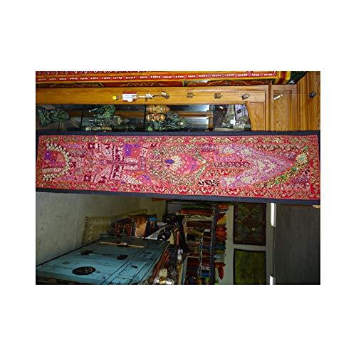 int. d'ailleurs - Tête de lit en Vieux Tissus recyclès - pièce Unique 37x150 cm - N° 43 - TDL043