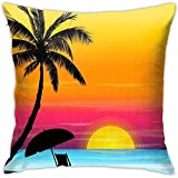 jonycm Funda de cojín Summer Beach Palm Rest Funda de cojín Decorativa Dormitorio Sofá Fundas de cojín de Coche 45X45cm