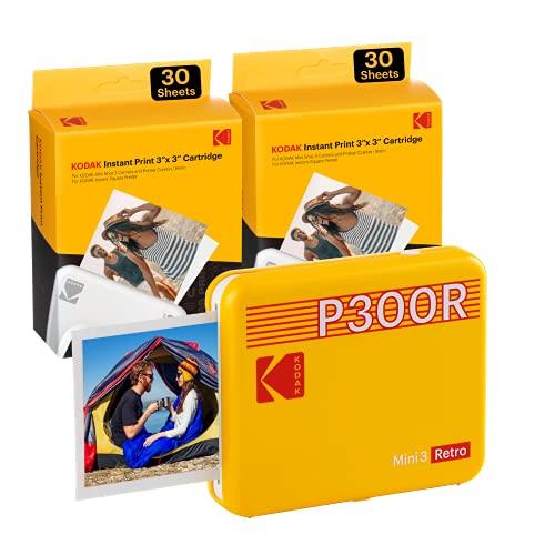 "KODAK Mini 3 Retro Portable Photo Printer, Compatible with iOS, Android & Bluetooth Device, Real Photo (3""x3""), 4Pass Technology & Laminating Process, Print Photos – Yellow - 60 Sheets"