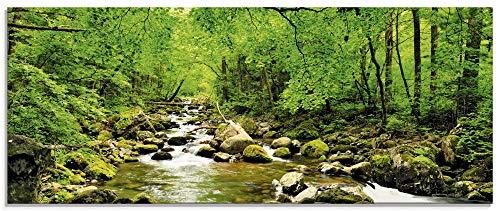 Artland Glasbilder Wandbild Glas Bild einteilig 125x50 cm Querformat Natur Landschaft Wald Fluss Wasserfall Felsen Steine Bach T1YH