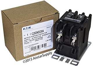 Eaton C25DND230A 2 Pole Open Type Non-Reversing Definite Purpose Control Contactor With Baseplate 30 Amp 110 - 120 Volt AC
