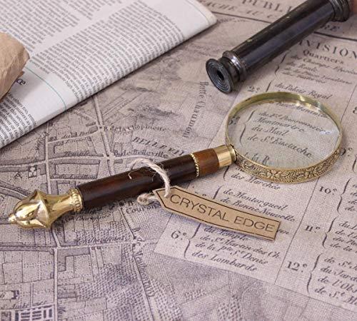 Antik Vintage Lupe Messing Filigran Griff Landkarte Nautisch Geschenk
