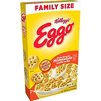 Kellogg s Eggo Breakfast Cereal Maple Flavored Homestyle Waffle Good Source of 8 Vitamins and Minerals Family Size 14.1oz Box