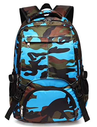 Boys Backpacks for Kids Kindergarten Camo Elementary School Bags Waterproof Lightweight Gifts Presents for Kids (Camouflage Blue)
