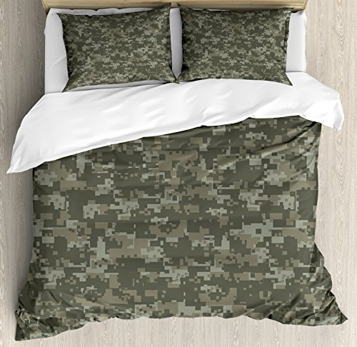 Ambesonne Camouflage Duvet Cover Set, Monochrome Attire Pattern Concealing Hiding in The Woods Themed Print, Decorative 3 Piece Bedding Set with 2 Pillow Shams, Queen Size, Army Green