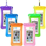6 Piece Floatable Waterproof Phone Pouch Floating Waterproof Cell Phone Case Universal Cellphone Dry Bag Case with Lanyard for Smartphone up to 6.5 Inch (Purple, Green, Rose Red, Blue, Yellow, Orange)