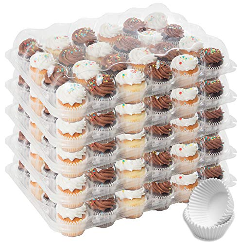 Houseables 24 Cupcake Carrier, Plastic Compartment Containers, 5 Pk, Clear, PET, w/Lid, Detachable Lid, Ultra-Sturdy Boxes, Reusable Carriers, Holders, for Full Size Cupcakes, Muffins, Tall Dome