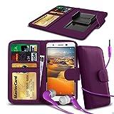N4U Online® Clip Kunstleder & Kopfhörer für Wiko Rainbow Up 4G Lila