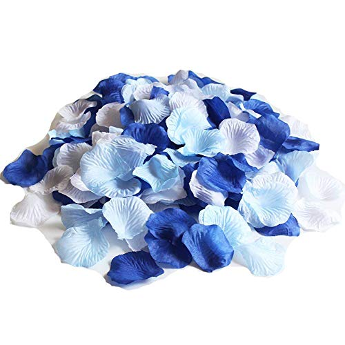 CheckMineOut Mixed Royal Blue & Light Blue & White Party Wedding Flowers Silk Rose Petals Party Confetti Bridal Shower Favor (1,200)