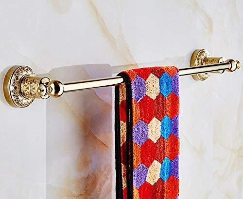 CXHMY Handtuchhalter Regal Bad Ständer Handtuch Kupferrohr Gravur Mit Haken Einhebel Gold Farben 64 * 9 * 8