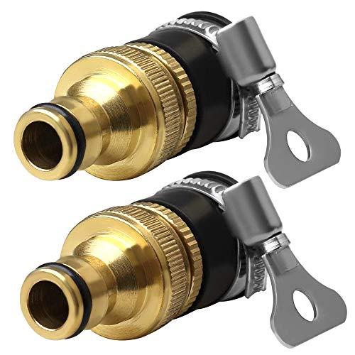 Gobesty Conector de Grifo de Manguera de latón, Adaptador de Grifo para Manguera, Adaptador de Conector de Grifo Universal, 1/2 Pulgada y 3/4 Pulgada 2 en 1 Hembra/Macho Adaptador de Grifo de Rosca