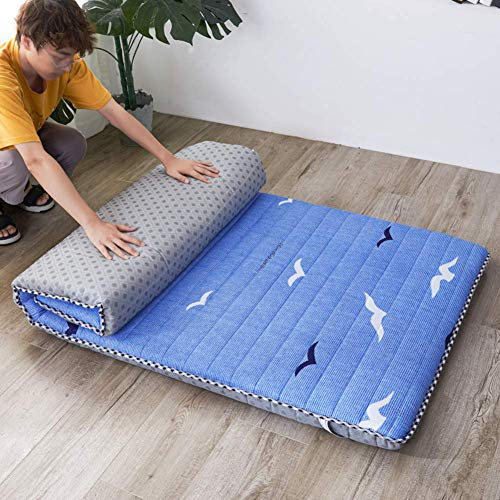 YDYL-LI Tatami Floor Mat,Traditional Japanese Futon Mattress Bed Folding Pad Tatami Mat Dorm Mattress Topper For Family,Hotel,Picnic,Camping Blue 90x200cm(35x79inch)
