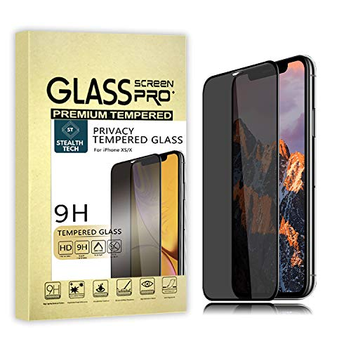 StealthTECH Privacy Screen Protector for iPhone X and XS, [2019 Upgraded Design] [Full Coverage] [Anti-Dim], Smash Proof Tempered Glass, Anti-Spy, HD Ultra Definition