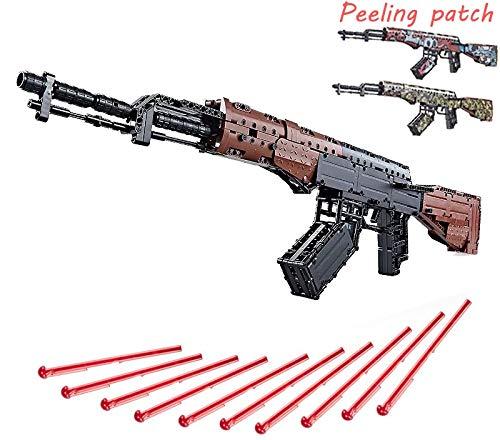 Zenghh Mechanische Technologie AK47-Sturmgewehr Modell Moc Bauklotz, 676pcs Gun-Spielzeug mit Ersatzhaut, Militäranzug Geeignet for Cosplay PLAYERUNKNOWN das Spiel im Freien Shooting Kit