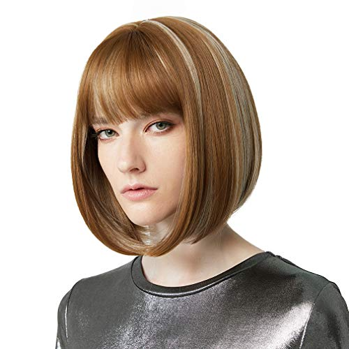 "REECHO 11"" Short Bob Wig with bangs Synthetic Hair for White Black Women Daily Use or Cosplay Color: Medium Blonde with Light Blonde Highlights"