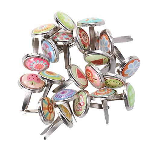 Amosfun 100 unids Brads Sujetadores broches de Perlas Sujetador de Papel Tarjeta Scrapbooking Haciendo Arte brads artesanales