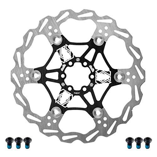 CNC Fahrrad Bremsscheibe,Bremsscheibe 203mm,Mountainbike/MTB Schwimmende Bremsscheibe für Shimano/Tektro/Magura/Avid ,Schwarz