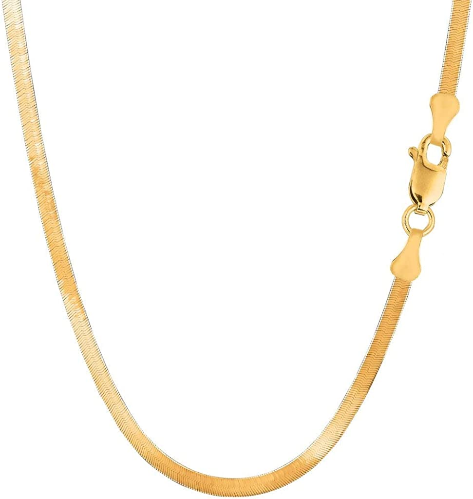 14K SOLID Yellow Gold 3mm or 4mm or 5mm or 6mm Shiny Imperial Herringbone Chain Necklace or Bracelet for Pendants and Charms with Lobster-Claw Clasp for Women Men(7