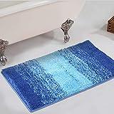 Bath Rug Runner, HAOCOO Ombre Stripe Gray 18x47 inch...