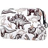 Bolsa de maquillaje personalizada para brochas de maquillaje, bolsas de aseo portátiles para mujeres, bolso cosmético, organizador de viaje, dinosaurios prehistóricos