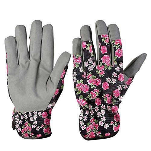 Verdemax Gant de jardin pour femme, en coton, fleurs, taille S