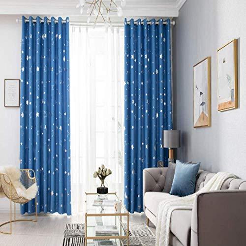 CXL Vorhänge, Sterne, Mond, Vollbeschattung, Schlafzimmer und Wohnzimmer, einfache Wärmedämmung und lichtblockierende Vorhänge - blau