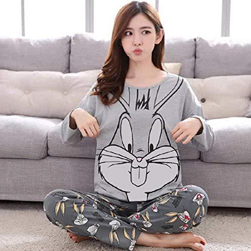 Wenhua Merry Style Schlafanzug Damen, Cartoon Rundhalsausschnitt tragen Lange Ärmel Pyjamas Damen, Bugs Bunny_L, Damen Anzug Lang Zweiteiliger Schlafanzug