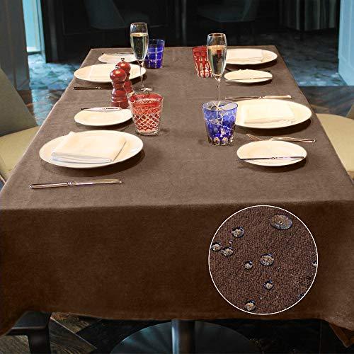 LUOLUO Mantel Rectangular Mantel Antimanchas Mantel Impermeable Mantel de Cocina para Cumpleaños Navidad (Marrón, 140x180cm)