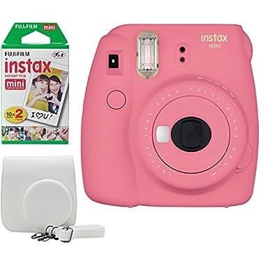 Fujifilm Instax Mini 9 Instant Camera Bundle w/Case and Film (Flamingo Pink)