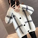 ZXCHB Suéter abierto de las mujeres, chaqueta de punto femenino femenino y suéter de abrigo de desgaste de otoño (Color : Beige, Size : XL code)