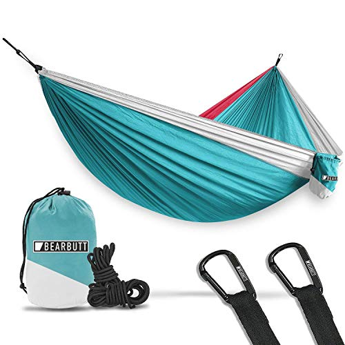 Bear Butt Double Parachute Camping Hammock, Sky Blue / Pink / White
