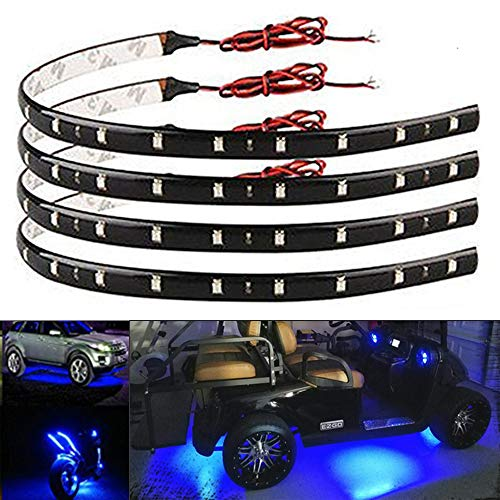 EverBright 4-Pack Blue Led Strip Lights for Cars, 30CM 5050 12-SMD Waterproof Car Underglow Lights Motorcycles Golf Cart Decoration Led Interior Exterior Lights Strip with 3M Tape, DC-12V