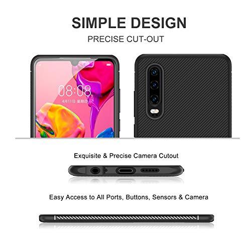 iBetter für Huawei P30 Hülle, Ultra Thin Tasche Cover Silikon Handyhülle Stoßfest Case Schutzhülle Shock Absorption Backcover Hüllen passt für Huawei P30 Smartphone (Schwarz) - 4