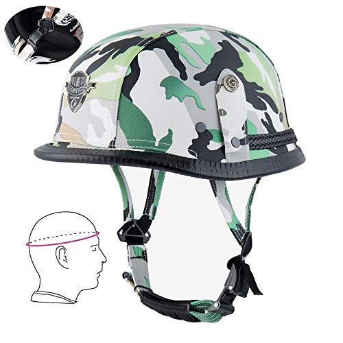 NBSMN Motorrad Vintage Helm, Abnehmbare Fahrradhelm Persönlichkeit Mode Männer Und Frauen Helm, Camouflage/Schwarz