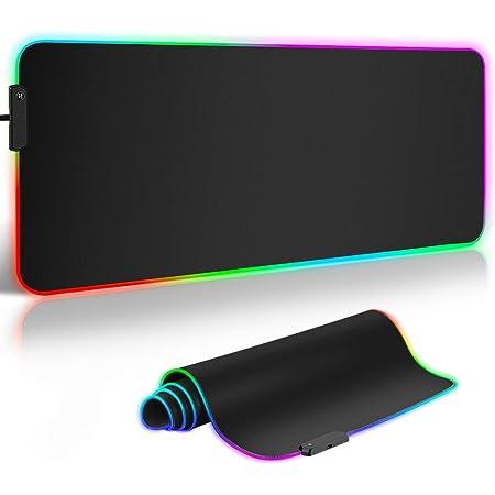 Tapis de Souris XXL,ARCHEER Tapis de Souris RGB 900x400 Grand Mouse Pad Gamer,12 Modes LED D'éclairage,Base en Caoutchouc Antidérapante, Surface Lisse, pour Claviers et Souris, PC/Ordinateur de bureau