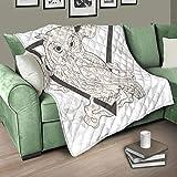 AXGM Tagesdecke Decke Quilt Dreieck Tier Eule Steppdecke Wohndecke Kuscheldecke Design Schlaf Decke White 100x150cm