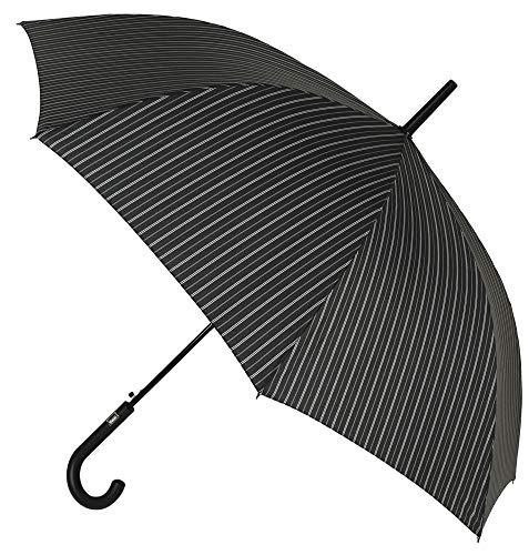 Elegante Paraguas básico Vogue para Hombre. Estampado Raya diplomática. Sistema antiviento y Apertura automática (Rayas Gris Blanco)
