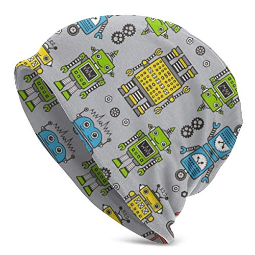 DHNKW Cute Robots on Gray Multifunction Slouchy Beanie...
