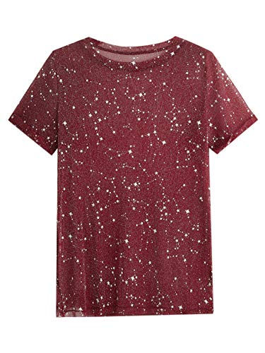 WDIRARA Women's Glitter Sheer See Through Short Sleeve Mesh Top Tee Blouse Burgundy S