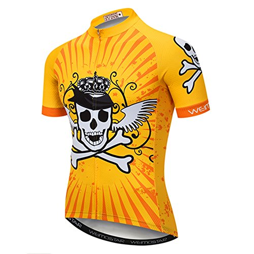 Cycling Jersey Men Mountain Bike Jersey Biking Shirt Jacket 2020 Short Sleeve MTB Clothing Pirate Skull Yellow Size XXXL